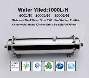 Stainless Steel Water Filter PVC Ultrafiltration Purifier,600L/H  1000L/H   2000L/H   3000/H ,Commercial Home Kitchen Drink Straight UF Filters