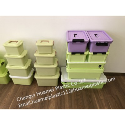 household customized eco-friendly colorful plastic storage boxes /bins