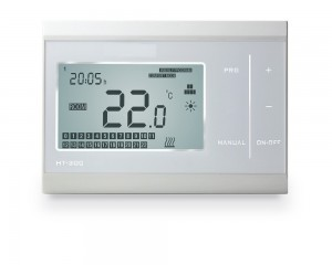 Smart electronic wireless touch screen thermostat for room heating