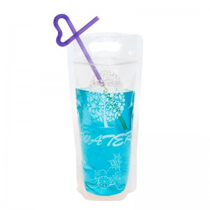 Clear Zipper Stand Up Drink Juice Pouches With Straw