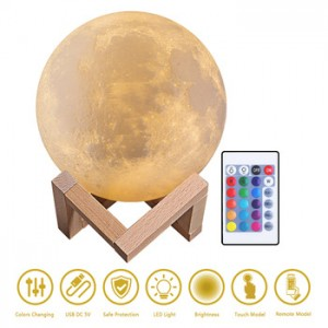 White 6 inches moon light, rechargeable 3D printed lunar lamp, remote 16 colors changing night light