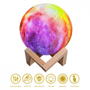 6 inches 7 colors decorative 3D printed moon light, touch and pat 3 color changing night lamp for gifts