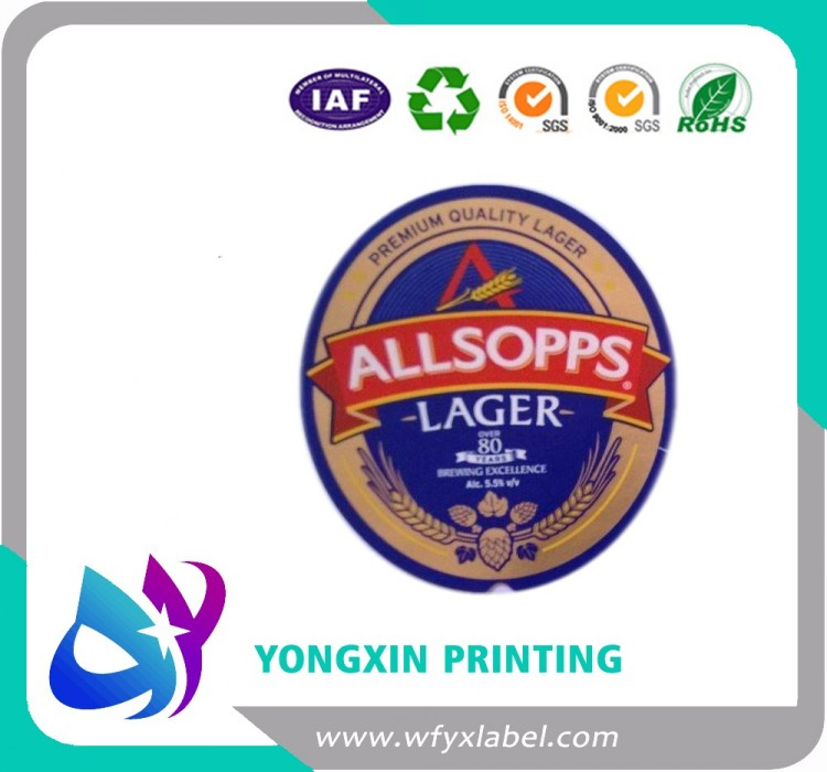 High glossy metallized beer bottle labels